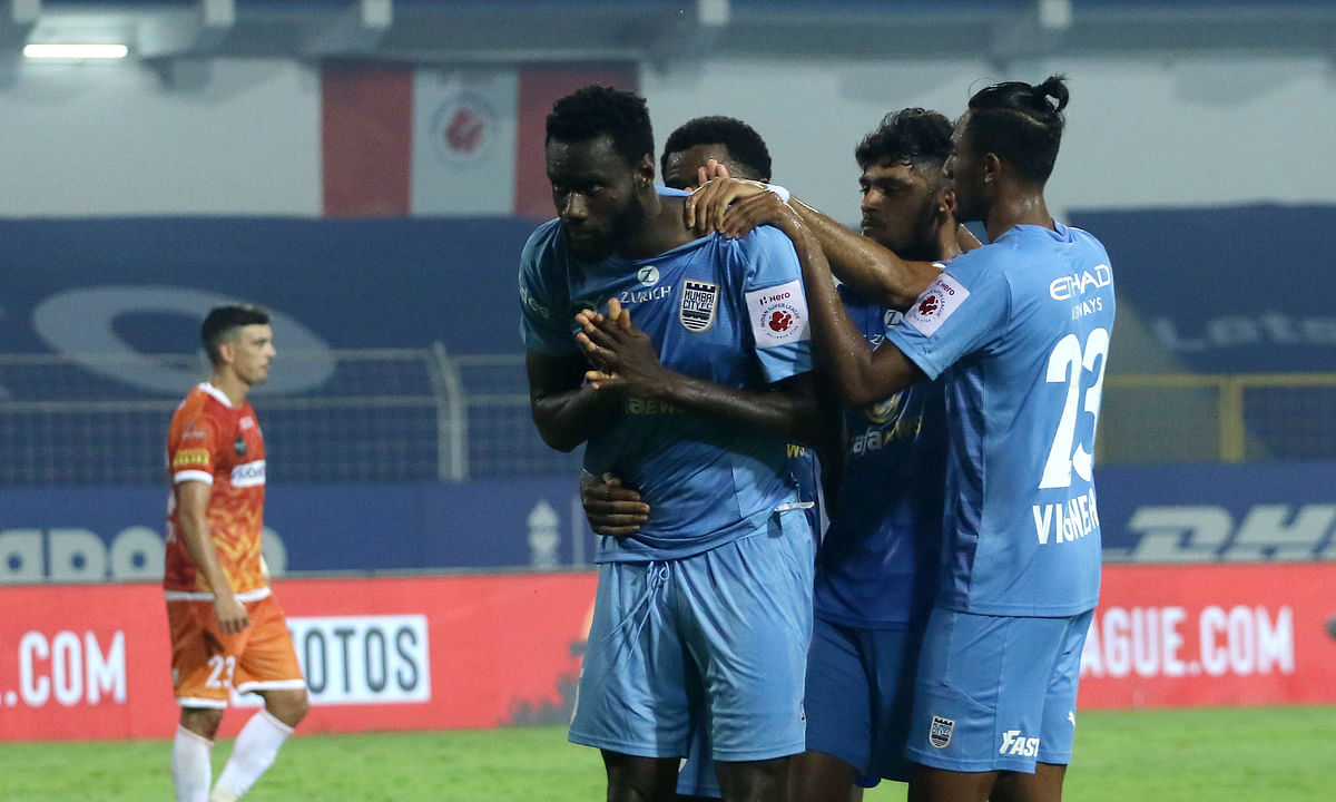 Mourtada Fall's header helped Mumbai City FC to equalise against FC Goa in the first leg of the semi-final in the Indian Super League (ISL) at Fatorda in Goa on March 5, 2021.