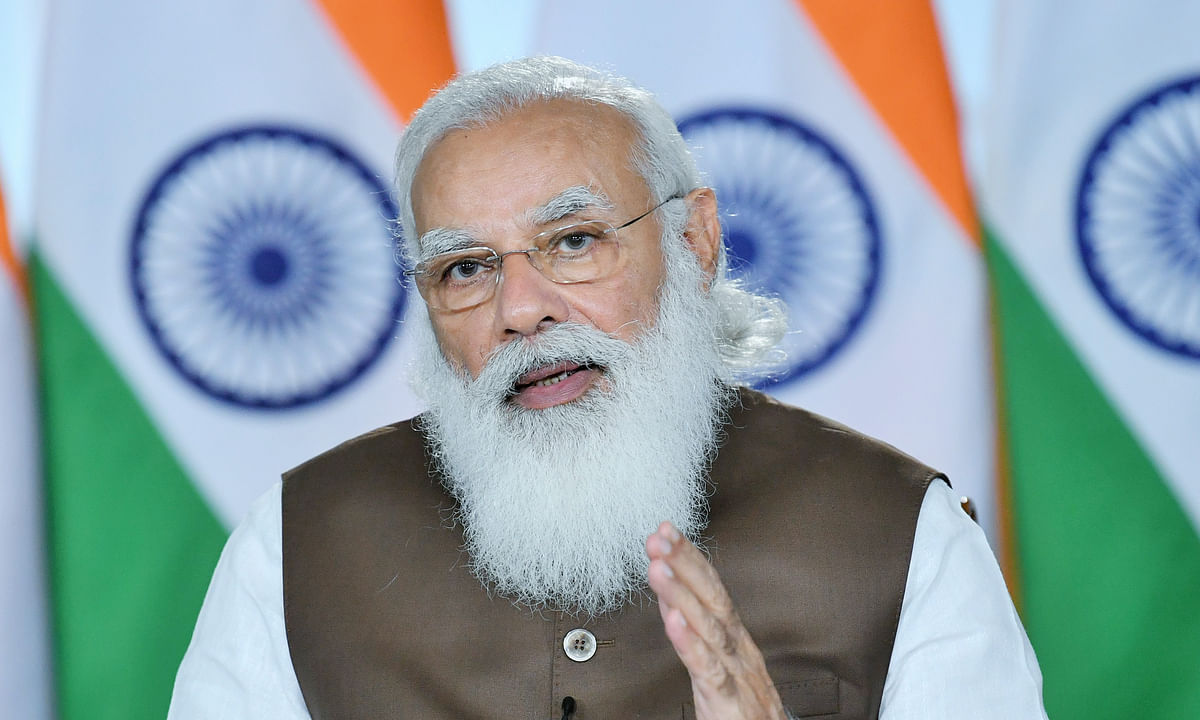 Prime Minister Narendra Modi addressing a webinar on the Production Linked Incentives scheme, organised by the Department of Industry and International Trade and NITI Aayog, in New Delhi on March 5, 2021.