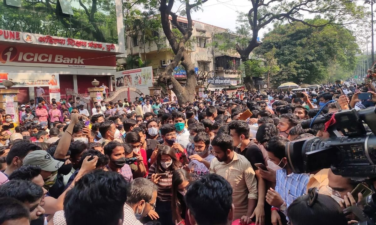A view of one of many protests held across Maharashtra on March 11, 2021 after the Maharashtra Public Service Commission postponed its 2020 preliminary examination.