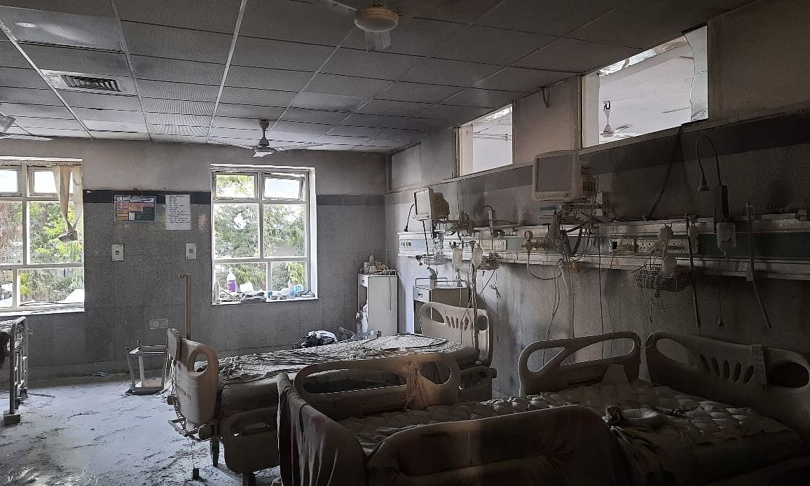 A view of the ICU Ward in the Safdarjung Hospital in New Delhi, where a fire broke out in the morning of March 31, 2021.