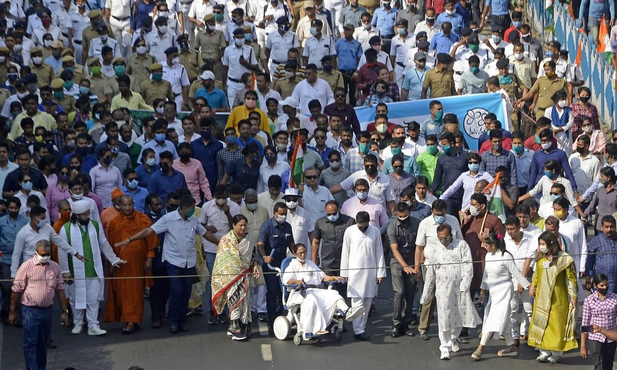 West Bengal Chief Minister and TMC supremo Mamata Banerjee along with other leaders and activists took part in a rally during Nandigram Diwas ahead of State Assembly election in Kolkata on Marcjh 14, 2021.