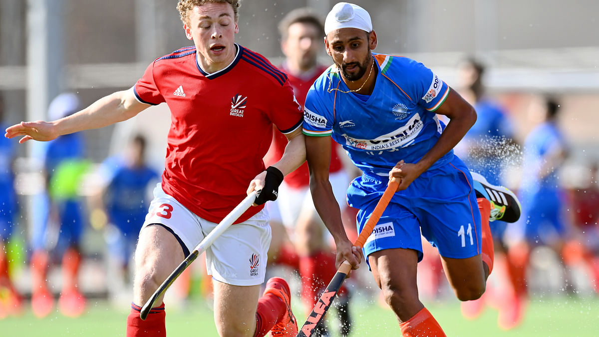 India's Mandeep Singh in action against Britain in the last match of their Europe Tour, in Antwerp on March 8, 2021.