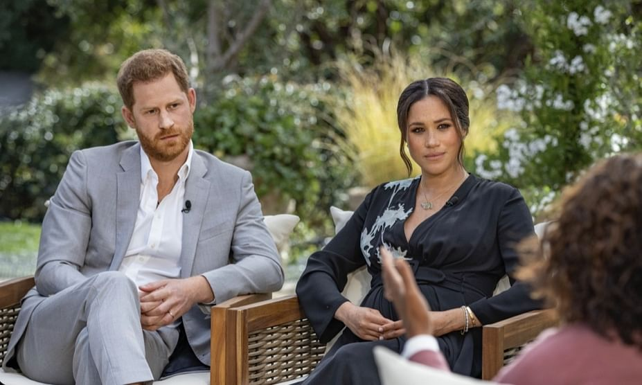 A screen shot of the Prince Harry-Meghan Markle interview with Oprah Winfrey, from the CBS social media handle.