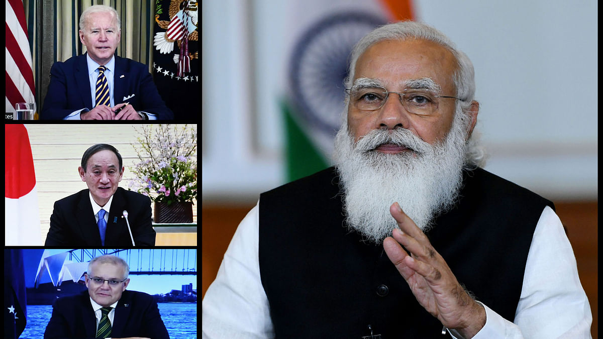 Prime Minister Narendra Modi, along with US President Joe Biden and Prime Ministers Yoshihide Suga of Japan and Scott Morrison of Australia, at the first Quadrilateral Leaders' Virtual Summit, held via video conference on March 12, 2021.