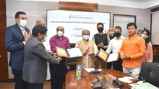 Ministry of Agriculture signs MoU with Microsoft for pilot project in 100 villages in 6 states