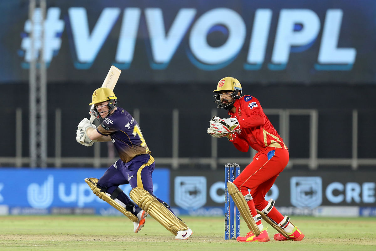 Kolkata Knight Riders captain Eoin Morgan playing a shot during their match against Punjab  Kings in the Vivo Indian Premier League at the Narendra Modi Stadium in Ahmedabad on April 26, 2021.