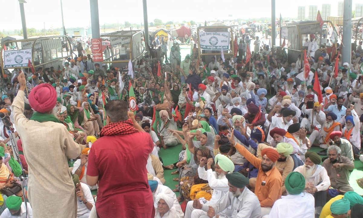 Farmers blocking the Kundli-Manesar-Palwal (KMP) Expressway in Haryana, near Delhi, as part of their ongoing protest against the three new Central farm laws, which  entered the 135th day  today.