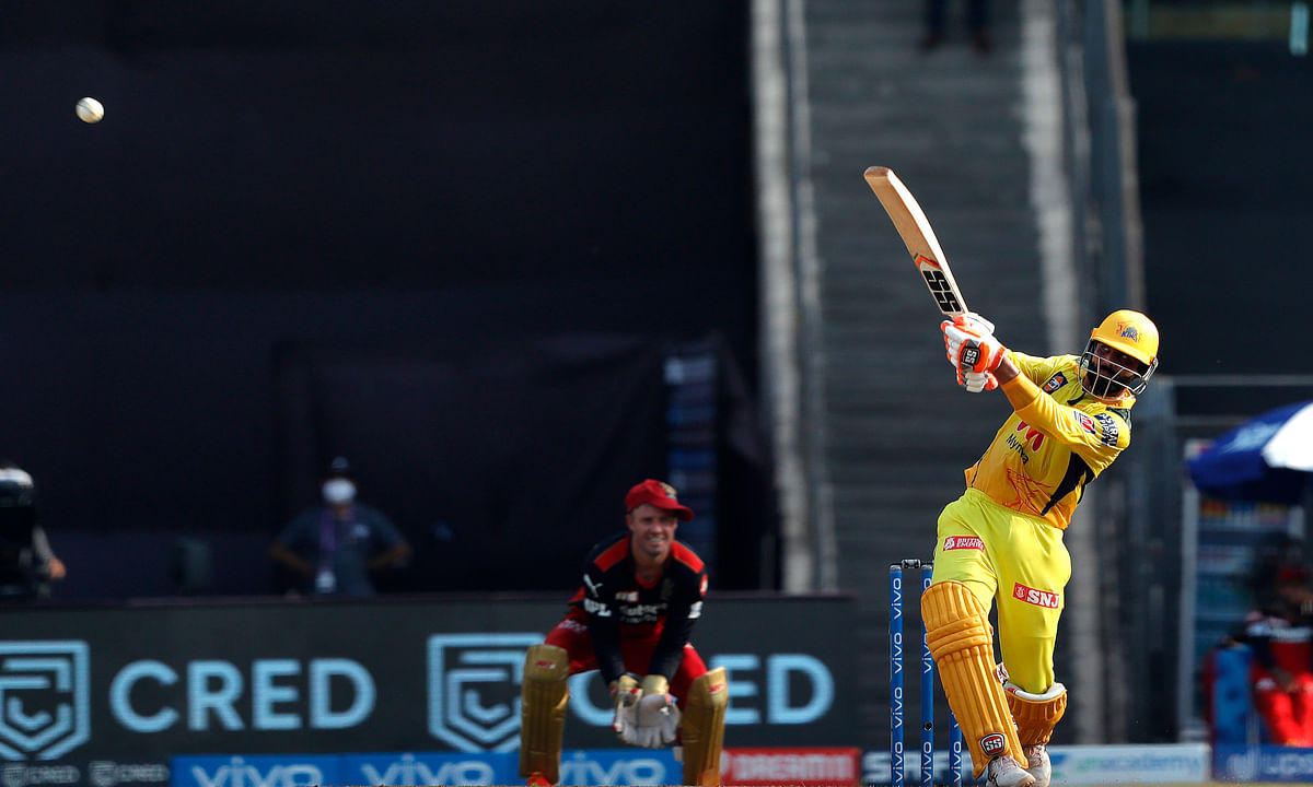 Ravindra Jadeja of Chennai Super Kings in action during their match against Royal Challengers Bangalore in the Vivo Indian Premier League at the Wankhede Stadium in Mumbai on April 25, 2021.
