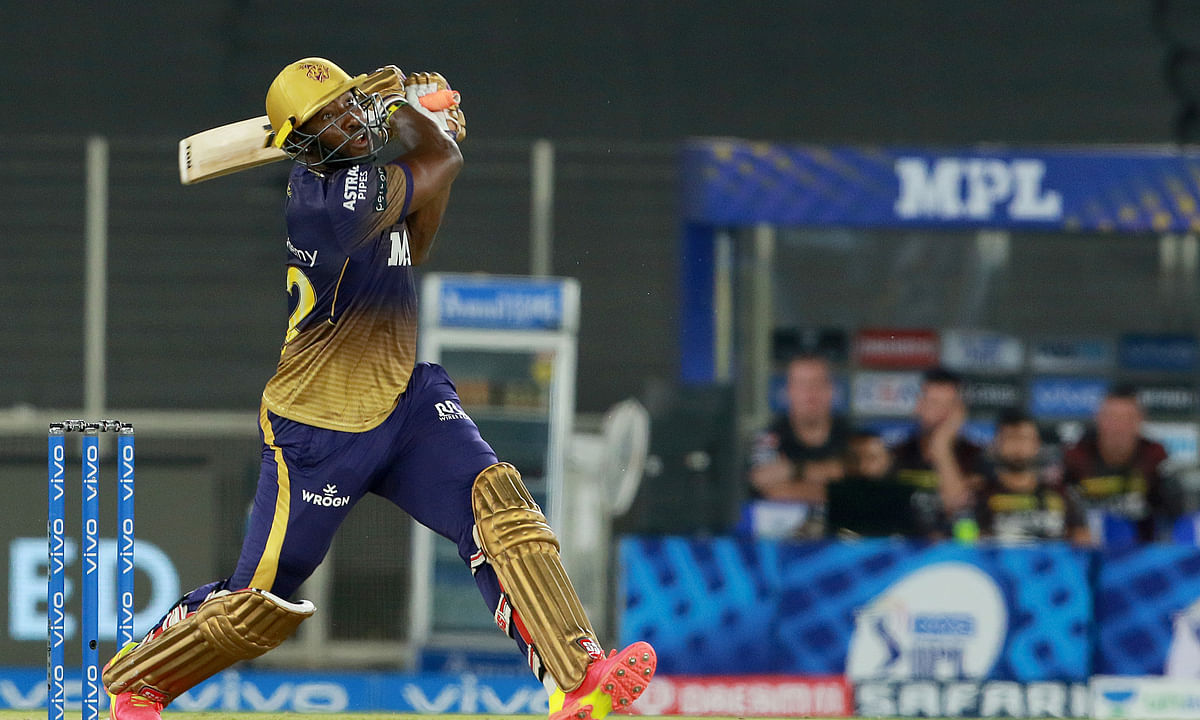Andre Russell of Kolkata Knight Riders playing a shot during their match against Delhi Capitals in the  Vivo Indian Premier League at the Narendra Modi Stadium in Ahmedabad on April 29, 2021.