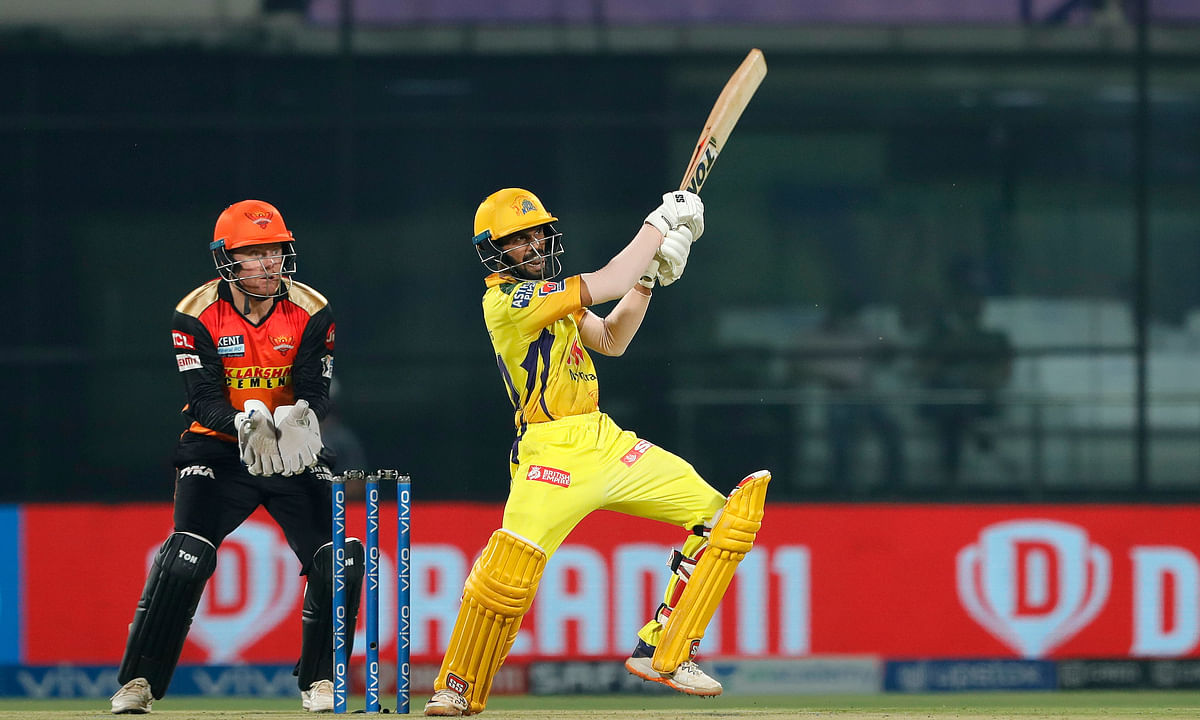 Ruturaj Gaikwad of Chennai Super Kings hitting a boundary during their match  against SunRisers Hyderabad in the Vivo Indian Premier League in New Delhi, on April 28, 2021.