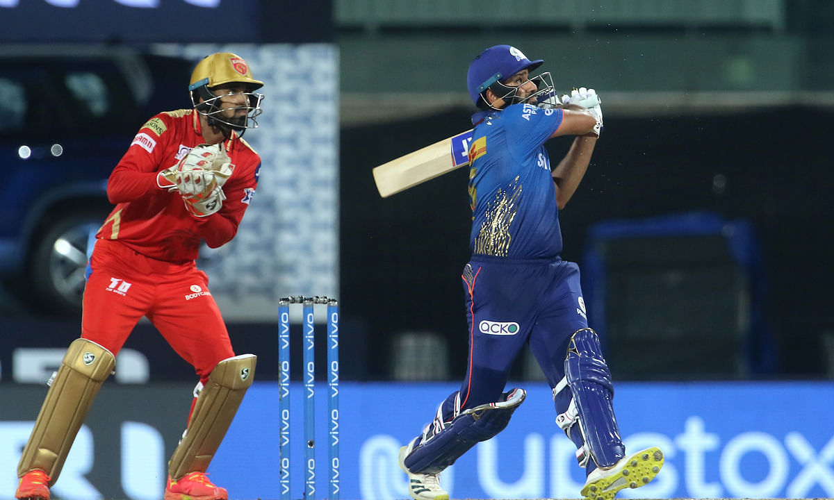 Mumbai Indians captain Rohit Sharma playing a shot during their match against Punjab Kings in the Vivo Indian Premier League at the M. A. Chidambaram Stadium in Chennai on Aoril 23, 2021.