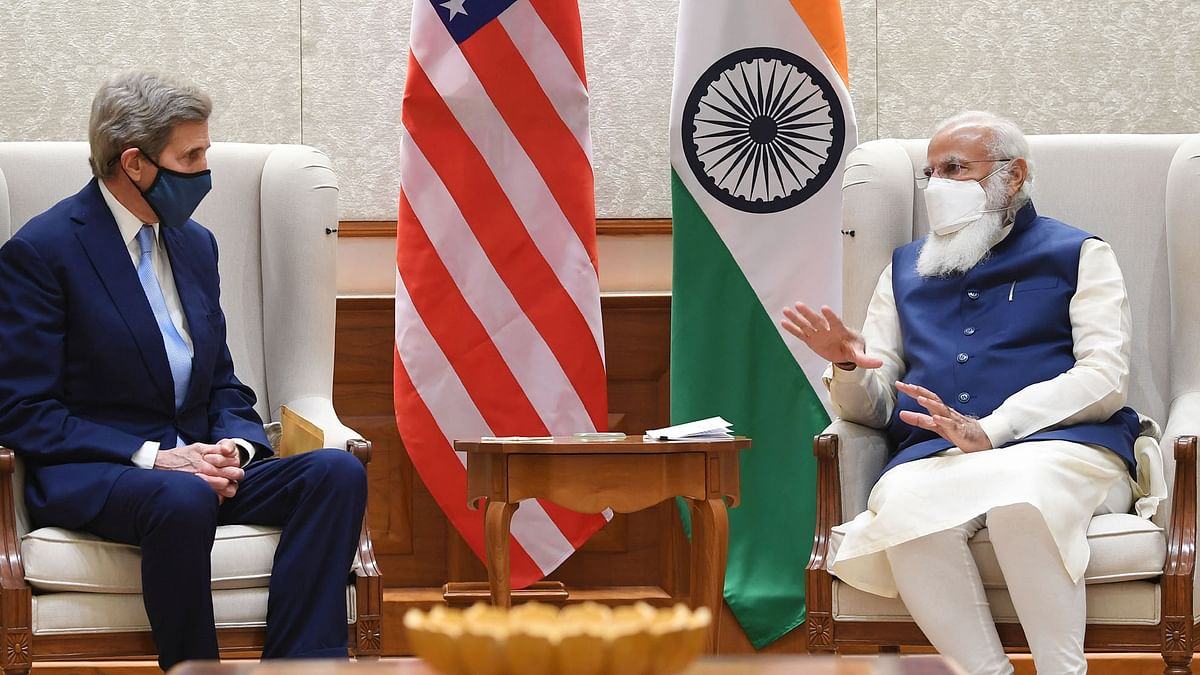 US Special Presidential Envoy for Climate John Kerry meets Modi