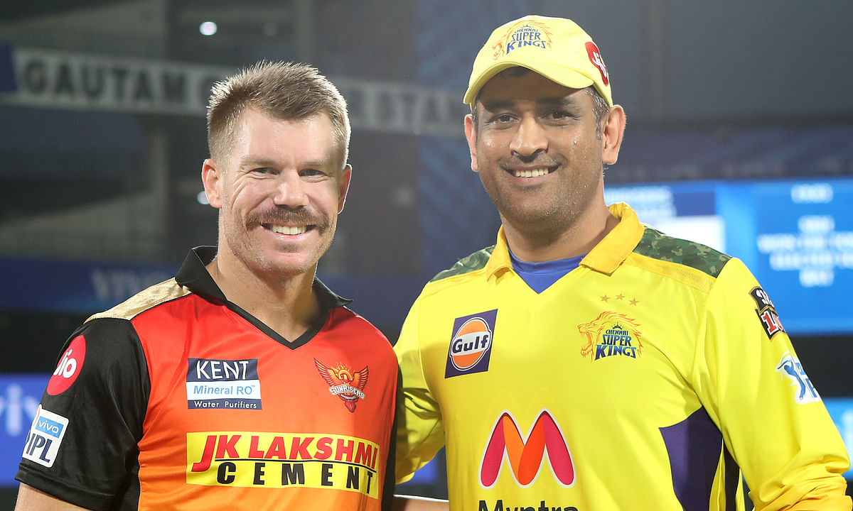 SunRisers Hyderabad catptain Mahendra Singh Dhoni and   SunRisers Hyderabad skipper David Warner at the toss ahead of their match in the Vivo Indian Premier League (IPL) in New Delhi on April 28, 2021.