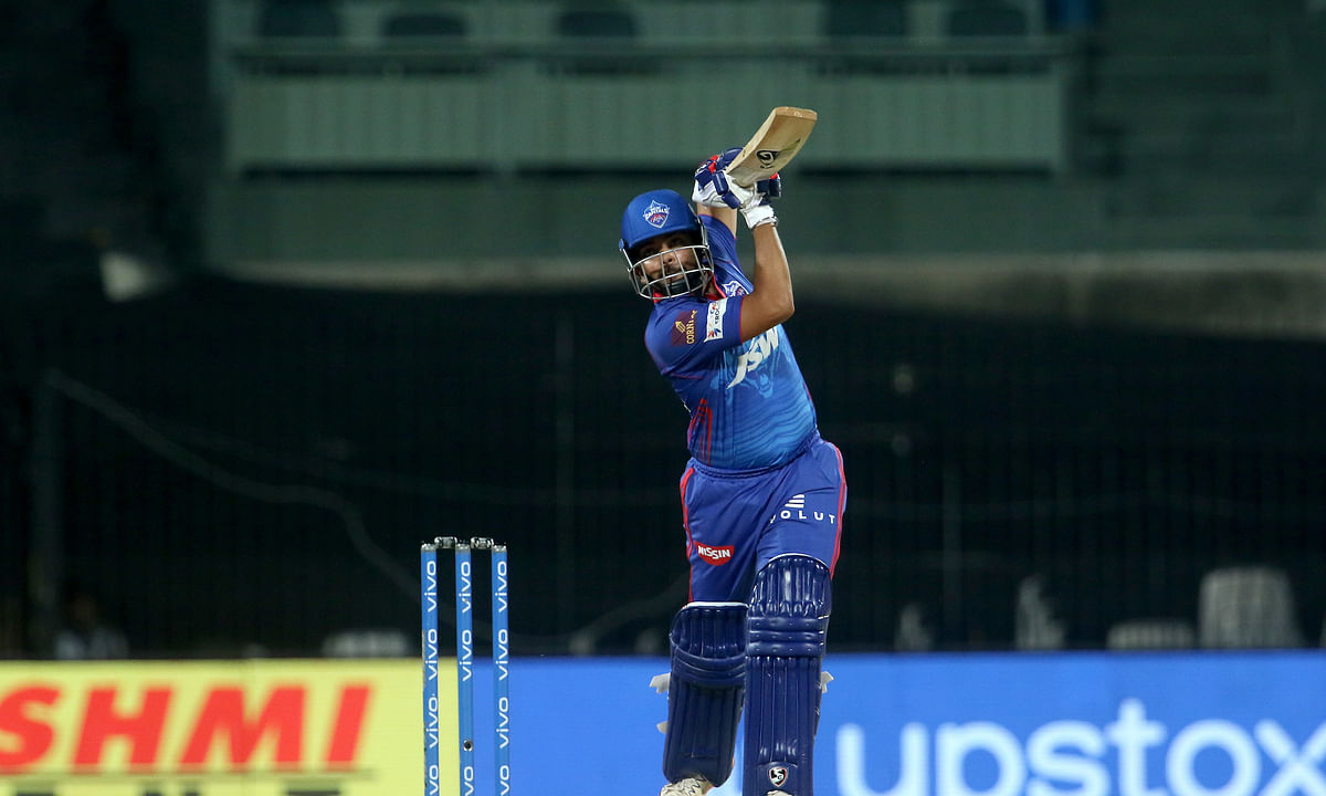 Prithvi Shaw of Delhi Capitals playing a shot during their match against SunRisers Hyderabad in the Vivo Indian Premier League at the M. A. Chidambaram Stadium in Chennai on April 25, 2021.