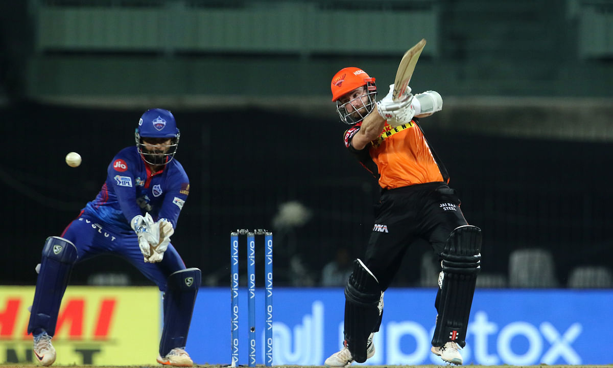 Kane Williamson of Sunrisers Hyderabad playing a shot during their match against Delhi Capitals in the Indian Premier League at the M. A. Chidambaram Stadium in Chennai on April 25, 2021.