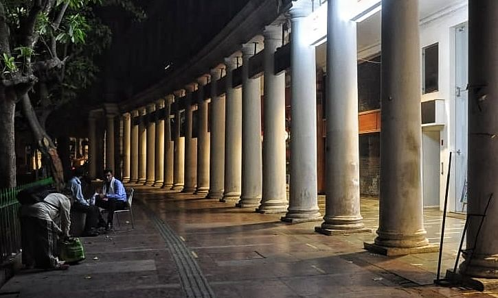 The busy Connaught Place in New Delhi wears a deserted look after a night curfew from 10 pm to 5 am to contain the spread of the COVID-19 pandemic, went into effect on April 6, 2021.