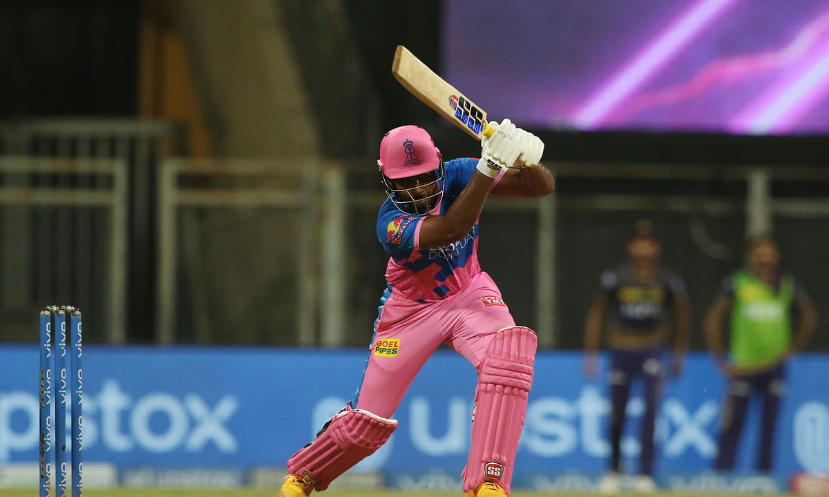 Rajasthan Royals skipper Sanju in action during their match against Kolkata Knight Riders in the Vivo Indian Premier League at the Wankhede Stadium in Mumbai on April 24, 2021.