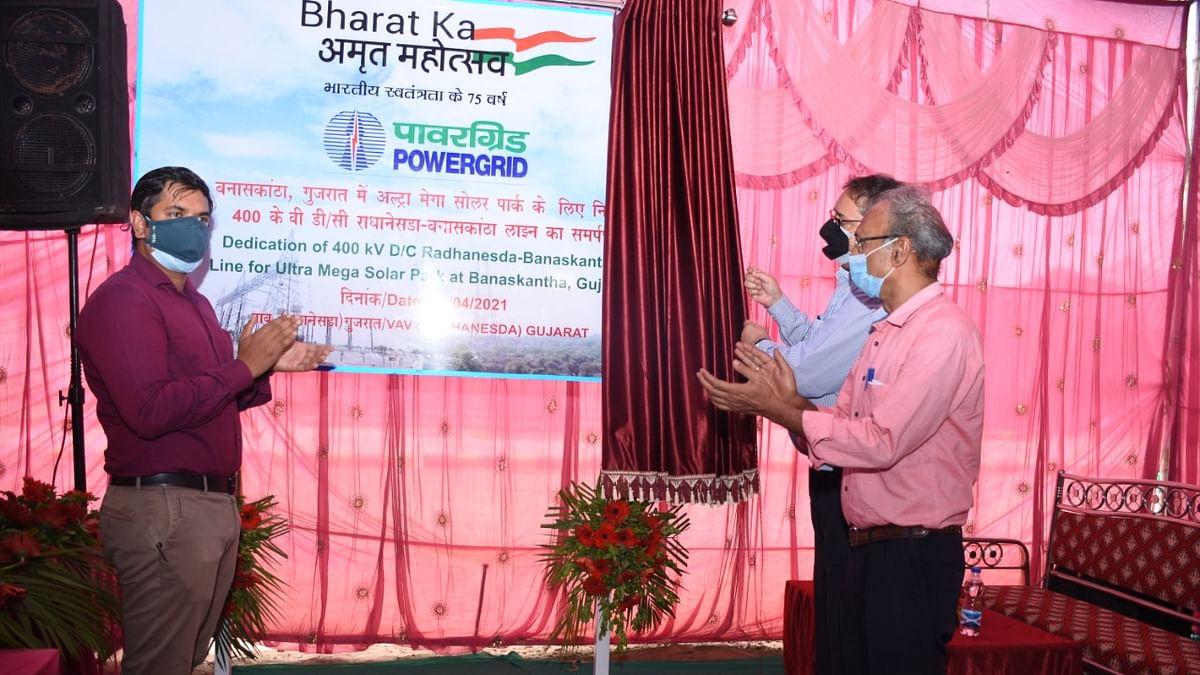 PowerGrid's transmission line for Ultra Mega Solar Power Park in Banaskantha dedicated to nation