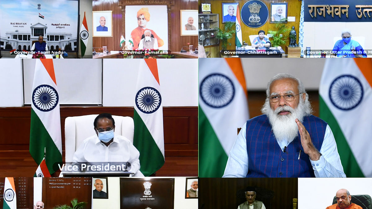 Prime Minister Narendra Modi interacting with Governors and Lieutenant Governors on the COVID-19 situation and the Vaccination Drive in the country through video conferencing, in New Delhi on April 14, 2021.