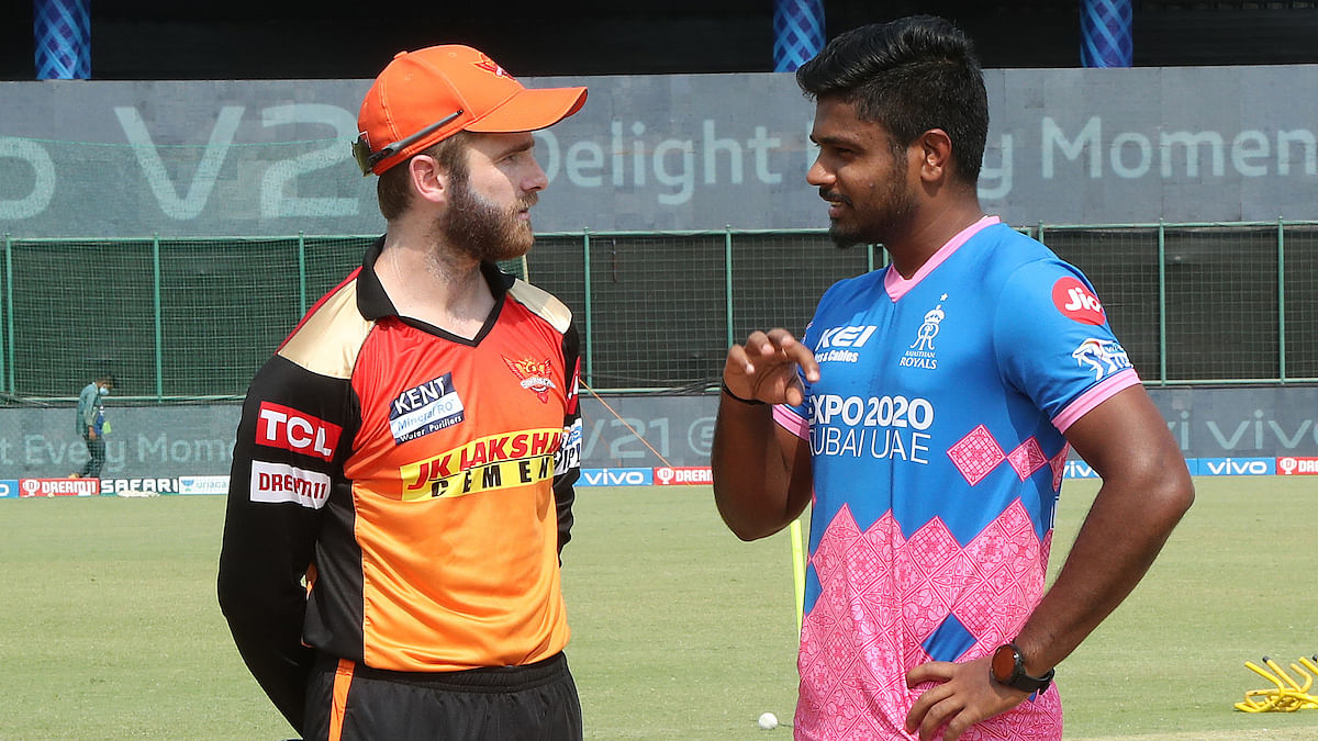 SunRisers Hyderabad captain Kane Williamson and Rajasthan Royals skipper Sanju Samson at the toss before their match in the Vivo Indian Premier League at the Arun Jaitley Stadium in New Delhi on May 2, 2021.