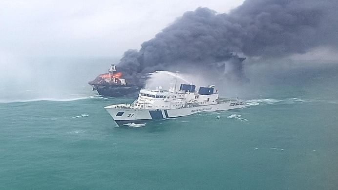 Coast Guard continues efforts to douse fire onboard container vessel off Colombo