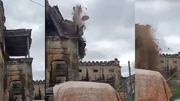 A part of Hyderabad's Mahboob Mansion collapses