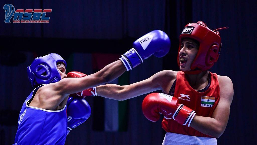 Vishu Rathee, Tanu, and Nikita Chand in the finals at the ASBC Asian Junior Boxing