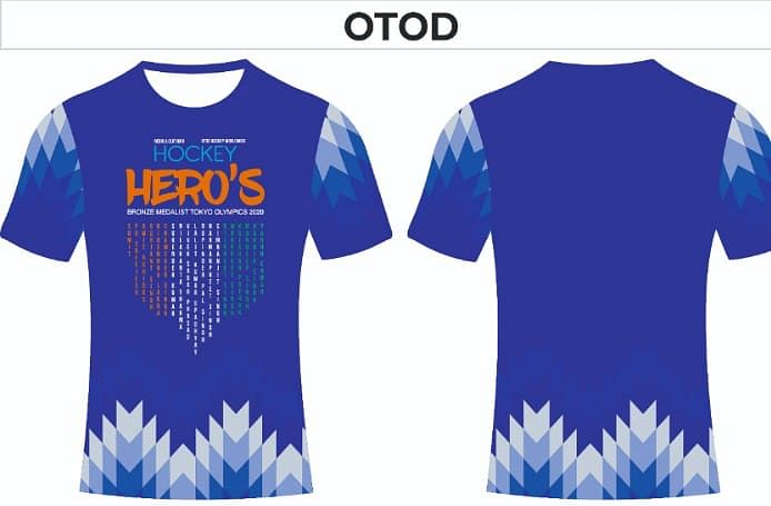 The specially crafted T-shirts that OTOD has got made as a tribute to the Indian hockey team.
