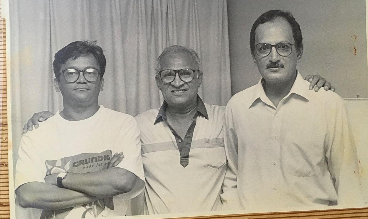 Vijay Lokapally with Leo Wijesinghe, a Sri Lankan   cricket official and Ajit Wadekar.