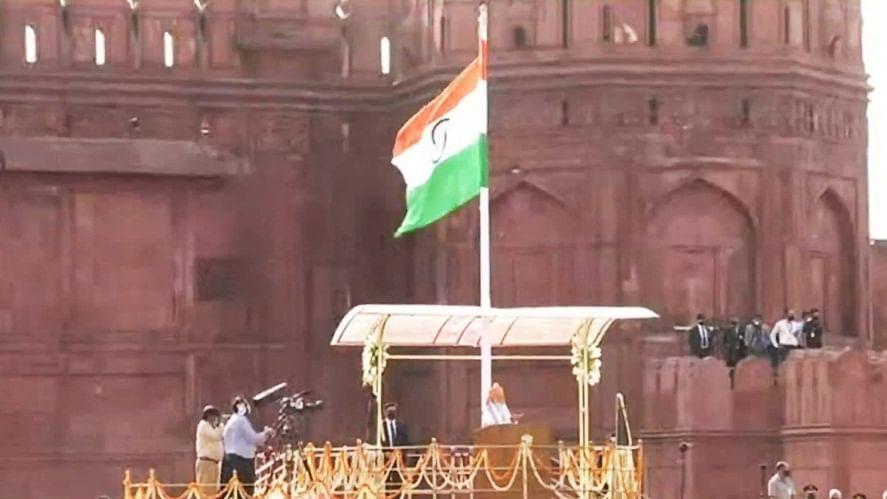Modi unfurls tricolour at Red Fort as India celebrates 75th I-Day