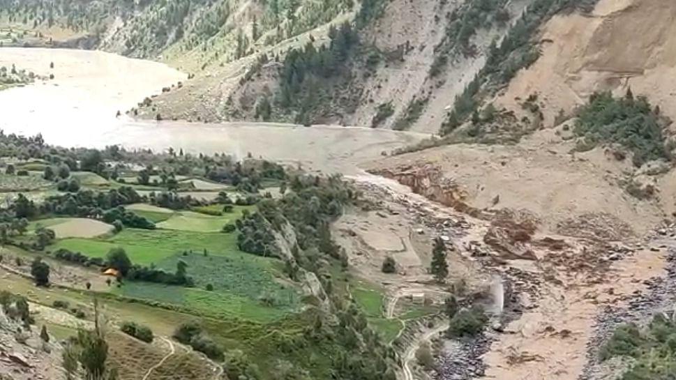 Trans-Himalaya landslides in Himachal block river Chandrabagha