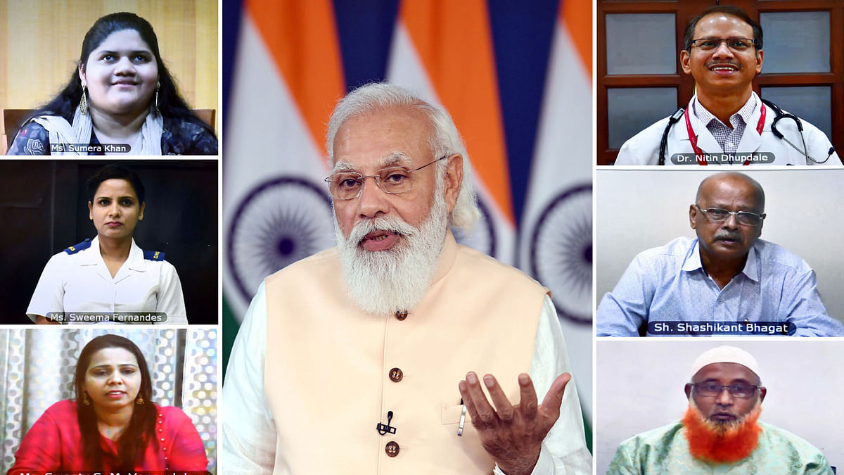 Modi interacts with healthcare workers and beneficiaries of the COVID vaccination programme in Goa