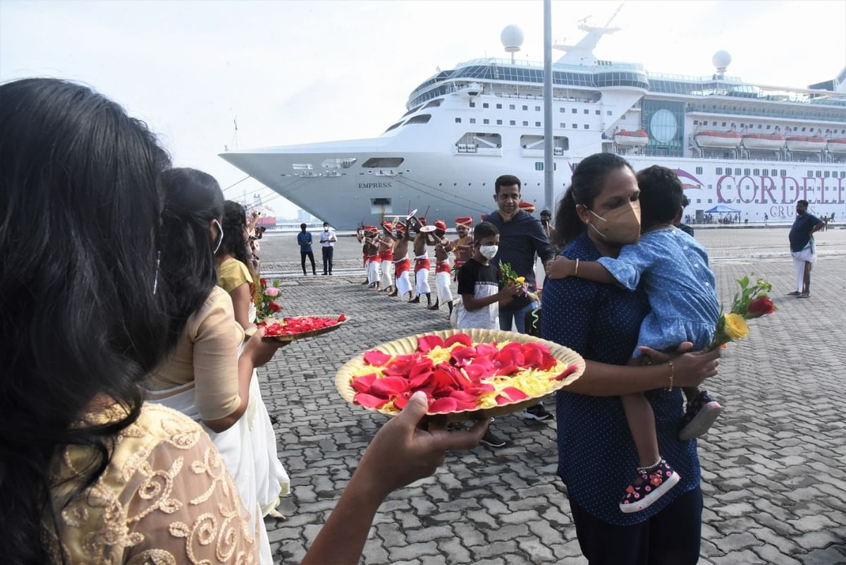 Luxury liner with 1,200 travellers docks at Kochi