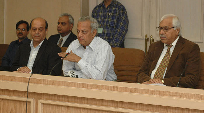 Chief Election Commissioner, N. Gopalaswami briefing the media after addressing the General Observers to be deputed for the General Election Duty. Election Commissioners, Navin B. Chawla and Dr. S.Y Qureshi are also seen.