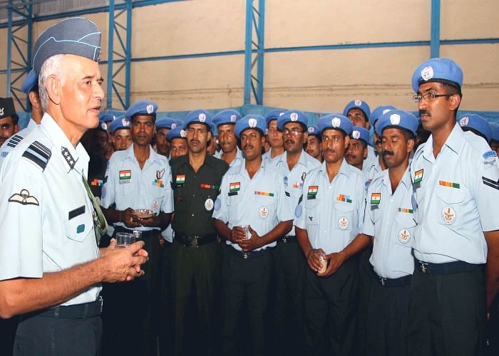 The Air Officer-in-Charge Maintenance, Air Marshal K.M. Rama Sundara interacting with the air-warriors during 'flag-off' event held before their departure at AF Station Palam, in New Delhi on Thursday.