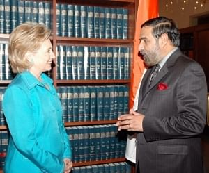 Commerce and Industry Minister Anand Sharma meeting US Secretary of State Hillary Clinton on the sidelines of Synergies Summit at USIBC in Washington, DC yesterday.