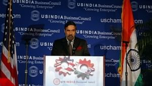"Commerce and Industry Minister Anand Sharma addressing the USIBC on ""India and the US – Partners for Prosperity"" in Washington, DC on Wednesday."