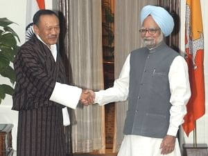 Prime Minister Manmohan Singh meeting Bhutan Prime Minister Lyonchhen Jigmi Y Thinley on Wednesday.