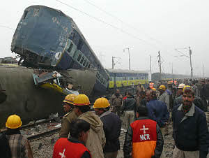 File photo of the scene after a train accident in Uttar Pradesh on January 2, 2010.