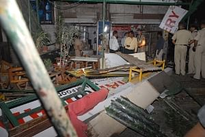 JThe scene at the site of the blast in Pune on February 13, 2010.
