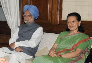 File photo of Prime Minister Manmohan Singh with Congress President Sonia Gandhi.