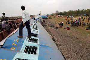 Bogies of the Howra-Kurla Gyaneshwari Express which derailed in West Bengal on May 28, 2010.