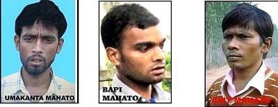 Photos of Umakant Mahto, Manoj @ Bapi Mahto and Asit Mahto who are wanted in the Gyaneshwari Train Case by the CBI.