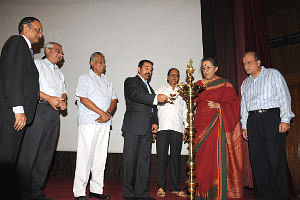 Information and Broadcasting Minister Ambika Soni and actor Kamal Haasan at the inauguration of a retrospective of the actor's films in Delhi on July 2, 2010.