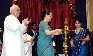 National Advisory Council Chairperson Sonia Gandhi inaugurating 31 Jawahar Navodaya Vidyalayas across the country, in New Delhi on September 8, 2010. Union Minister for Human Resource Development Kapil Sibal is also seen.
