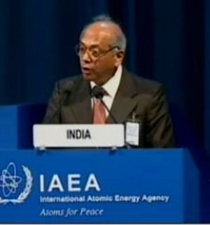 Atomic Energy Commission Chairman Srikumar Banerjee speaking at the 54th General Conference of the International Atomic Energy Agency in Vienna on September 22, 2010