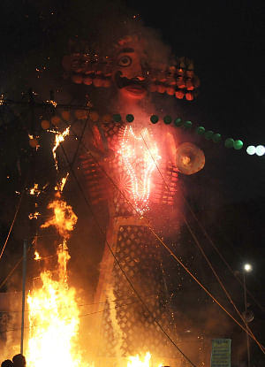 The Ravana effigy in flames, at the Dussehra celebrations, at Red Fort Ground on the auspicious occasion of Vijay Dashmi, in Delhi on October 17, 2010.