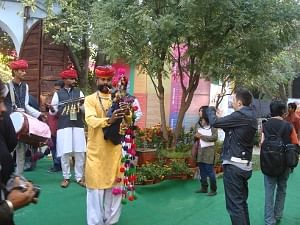 A bagpiper ushering in the Jaipur Literature Festival on January 21, 2011.