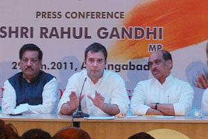 AICC General secretary Rahul Gandhi addressing a press conference in Aurangabad on January 29, 2011. UNI PHOTO