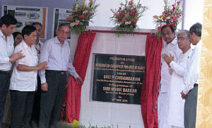Union Home Minister, P. Chidambaram unveiled the Foundation Stone for the construction of an Integrated Check Post, in Agartala on May 17, 2011. Chief Minister of Tripura, Manik Sarkar is also seen.